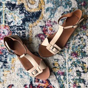 Madewell | Loren Cream T-Strap Leather Sandals